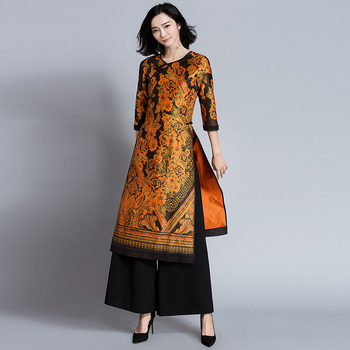 STKKOO Wholesale Cross V Neck Three Quarter Sleeve Retro Print Long Dress Wide Leg Casual Twinset