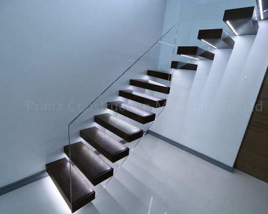 Led Light Glass Railing Wood Tread Floating Stairs Buy