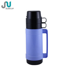 double cup cheap price plastic thermos vacuum flask with glass liner 1.0L 1.8L (FGUB)
