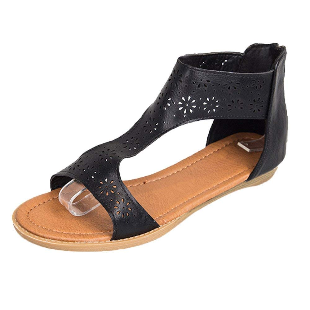 84af55f72037 Sandals For Women-Womens Summer Flat Sandals Elastic Ankle Strap Open-