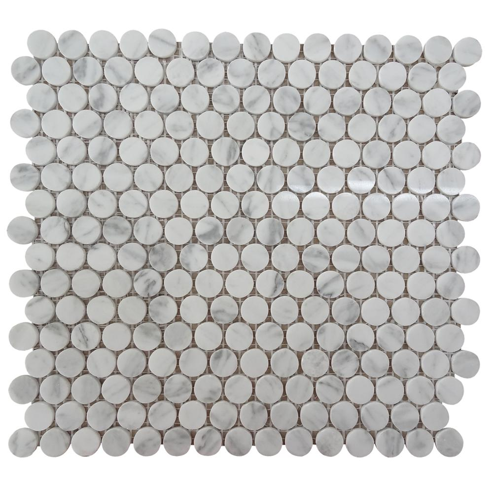 Carrara White 3/4 inch Penny Round Honed Marble Mosaic Floor Tile