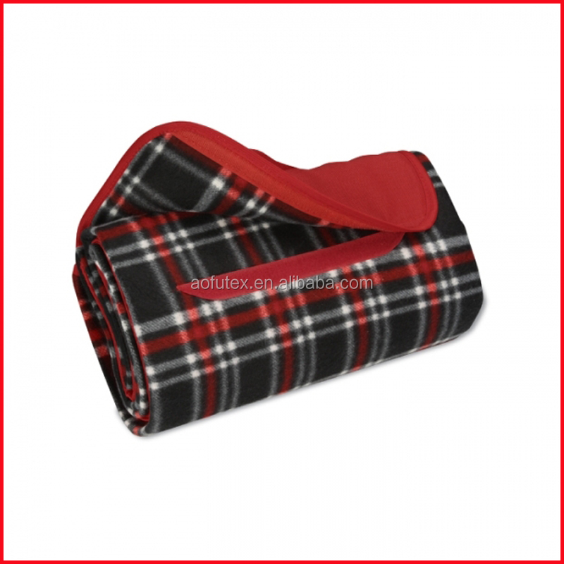 ROLL-UP BLANKET,BLACK/RED PLAID WITH RED FLAP