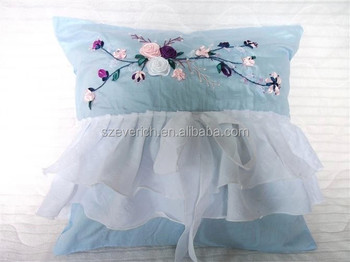 Handmade Ribbon Embroidery Cushion Cover Buy Ribbon Embroidery