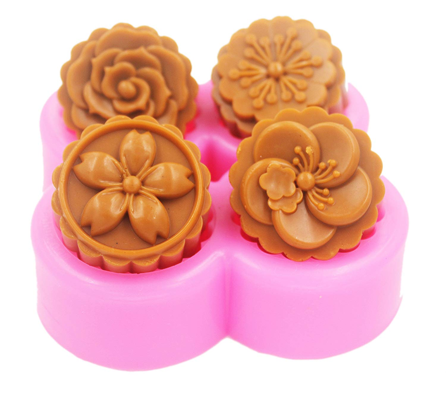 Longzang Silicone Soap Molds Shapes Flowers 4 cavity Soap Mold Silicone Soap Molds