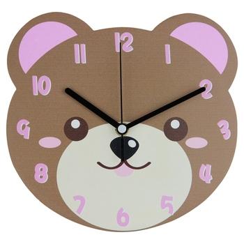 new design 2015 mdf cute animal shape wall clock for kids bedroom