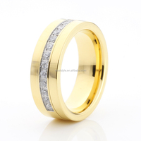 Tungsten wedding ring gold plated with 13 CZ stone