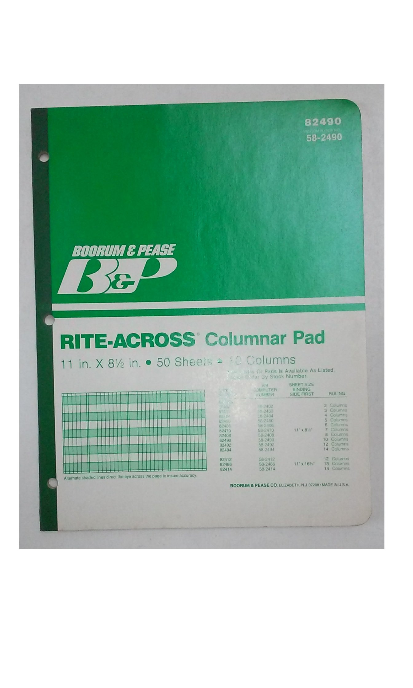"""Boorum Pease, Rite-Across(R), Columnar Pad, 11"""" x 8 1/2"""", 50 Sheets, 10 Columns, 82490, Can Substitute With Boorum Pease 8810 1/2 or National Brand 45-210"""