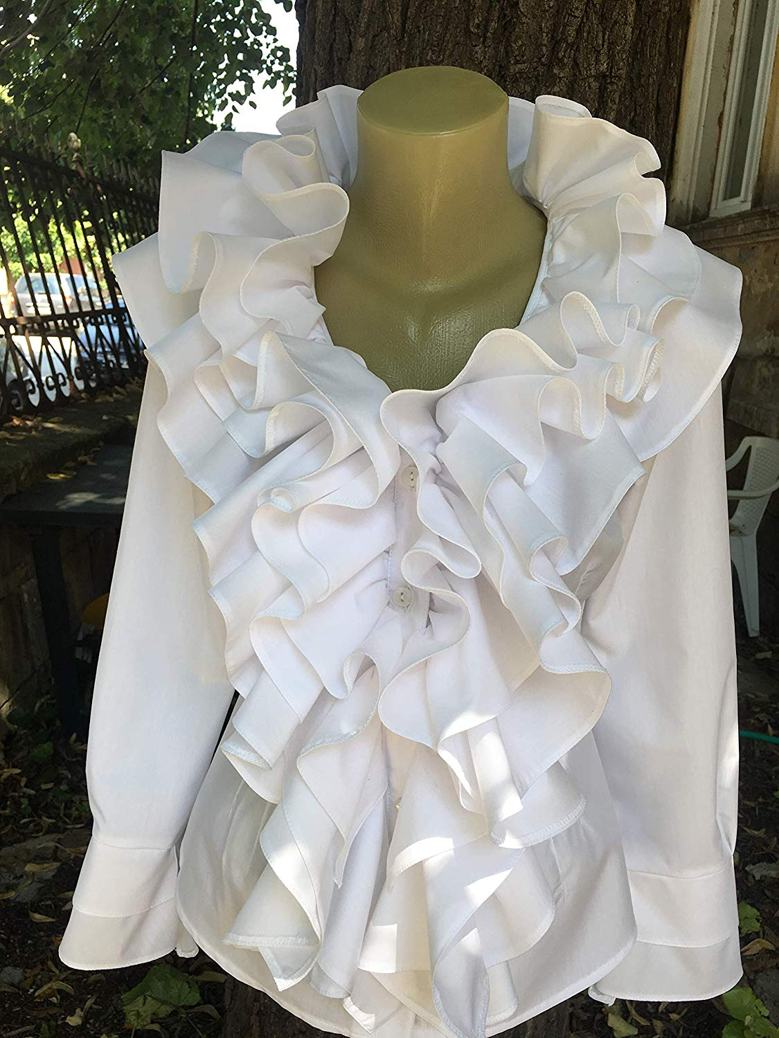 ce316feb123856 Get Quotations · Pirate blouse, Gothic shirt, Steampunk blouse, Lolita,  White Cotton blouse, Ruffled