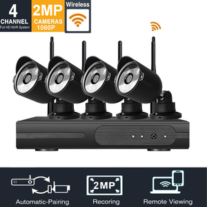 LOOSAFE 1080p wifi alarm system home security 2mp rohs security camera kit dvr 4 cameras with Night Vision Easy Remote
