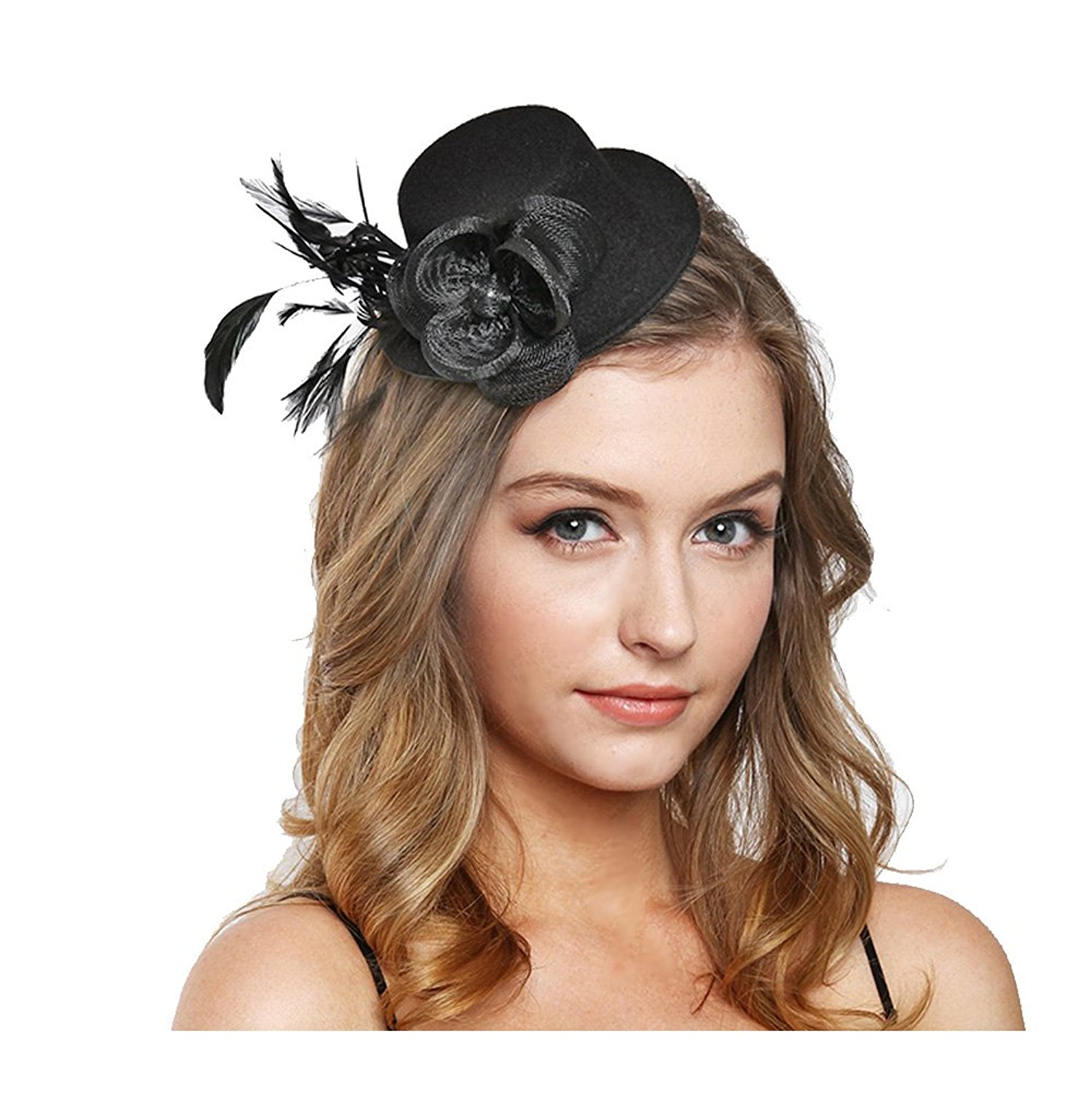 Beatnix Fashions Kentucky Derby Black Small Hat Feather Fascinator