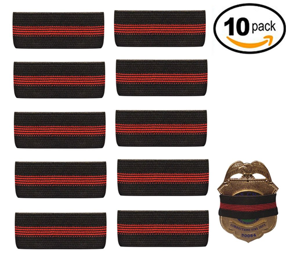 47157bc7d06 Get Quotations · 10-PACK Thin Red Line Mourning Band Black Fire Department  Badge Shield Funeral Honor Guard