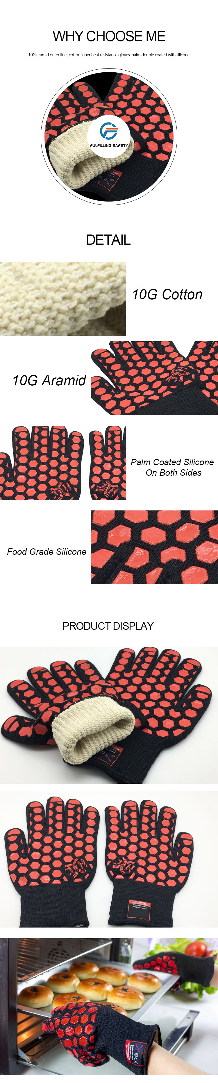 High quality insulated silicone extreme heat resistant BBQ set gloves