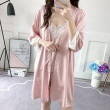 Атласные женские халаты и платье, комплект пижамы, кружевное Сексуальное белье, халат, розовый шелк, красный, подружки невесты, японское ким...(Китай)