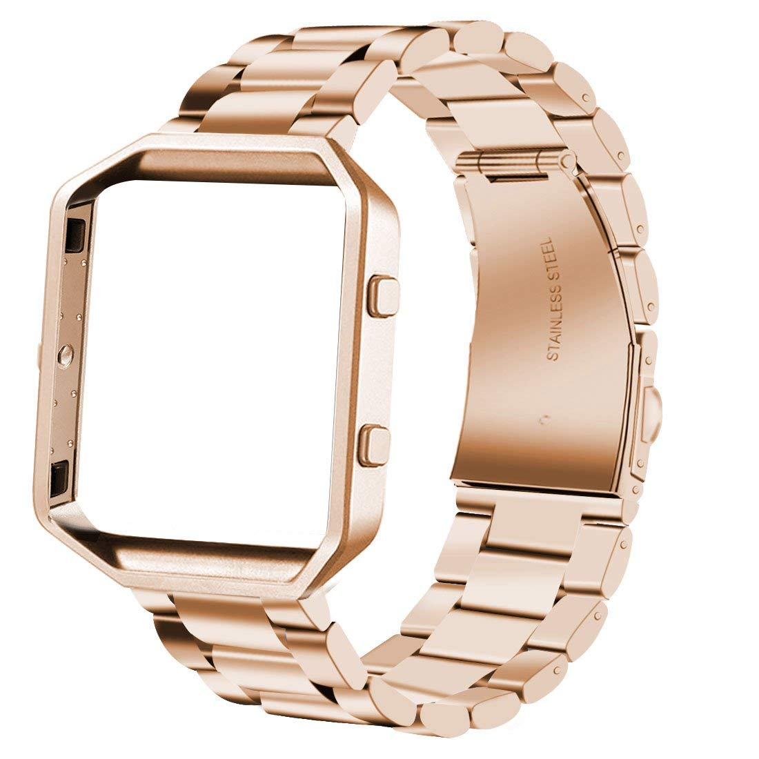 iiteeology Compatible Fitbit Blaze Bands Stainless Steel with Frame, Small Large Smart Watch Band Strap for Fitbit Blaze Smart Fitness Watch Women Men (Rose Gold + Rose Gold)