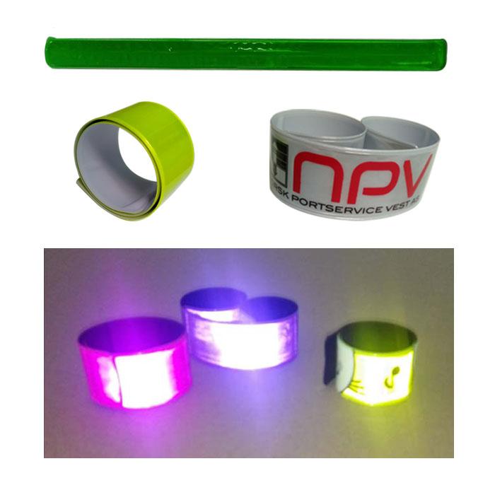 Promocionais crianças e adultos esportes banda refletor de plástico pvc tapa pulseira reflexivo snap on ankle belt para ciclismo caminhadas