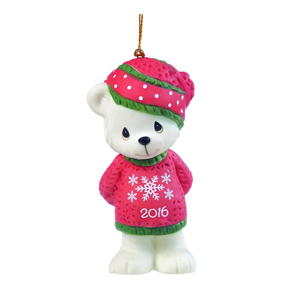 """Precious Moments, Christmas Gifts, """"Beary Cozy Christmas"""", Dated 2016, Bisque Porcelain Ornament, #161007"""