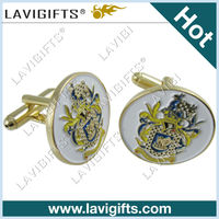 Round gold enamel fashion jewelry cufflink