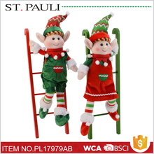 most popular item indoor table decoration 16 inch christmas fabric elf on shelf