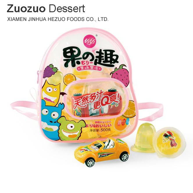 500g a small toy car in bag Mixed Fruit Cup Jelly