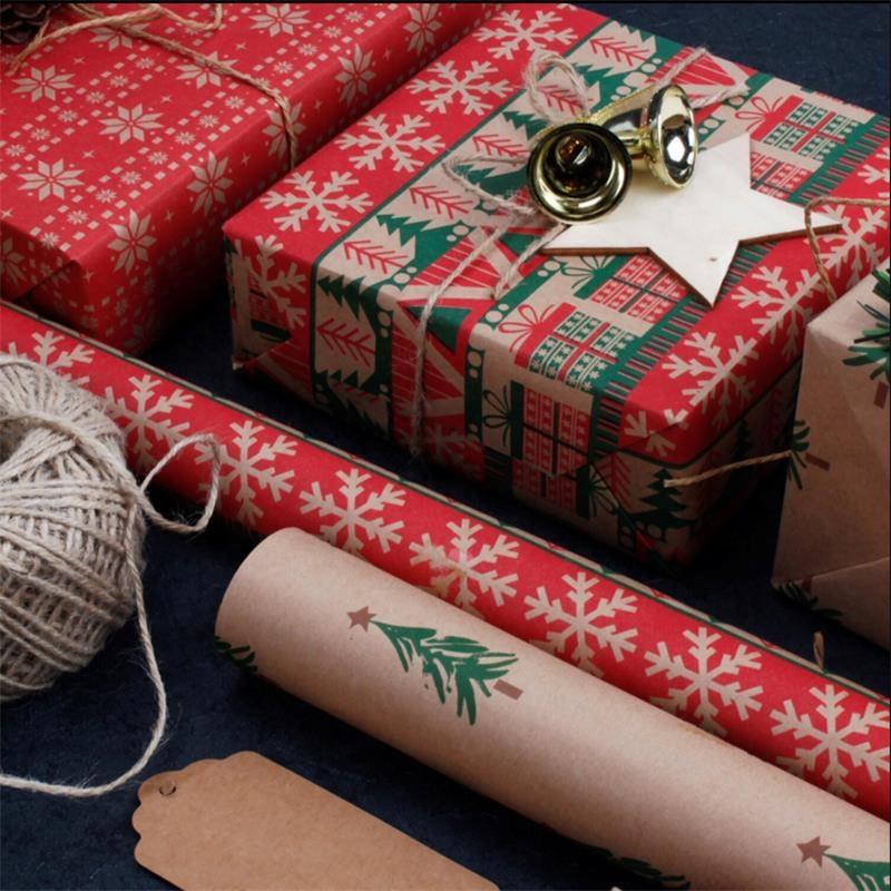 คริสต์มาสชุดของขวัญกล่องกระดาษห่อกระดาษคราฟท์,ดอกไม้ Rose ห่อกระดาษ