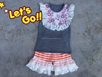 YIWU Boya 2015 summer girl outfits baby girl boutique remake ruffles printed wholesale top lace gray stripe shorts clothing sets