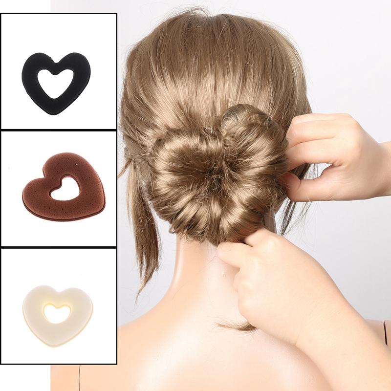 Hair bands Hair Donuts Bun for Cute Girls magic Sponge Heart Shape  UK Stocks
