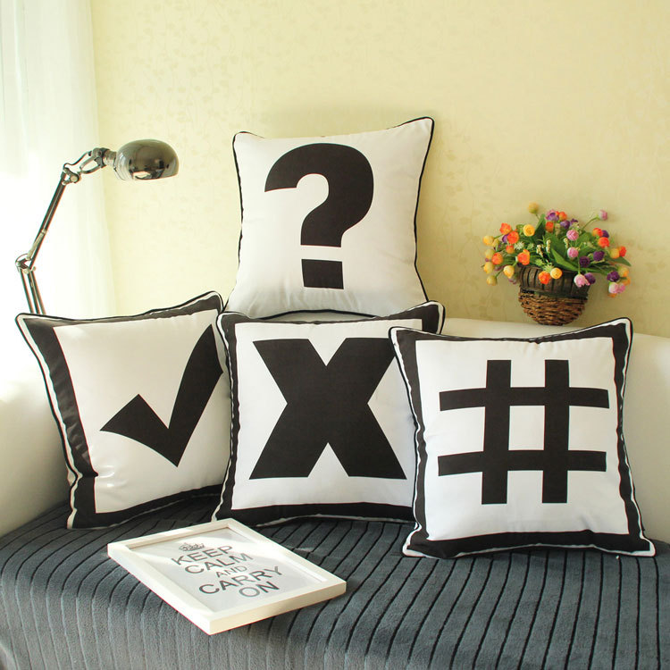 fashion korean style home textile soft furnishing design black and white symbol pattern sofa. Black Bedroom Furniture Sets. Home Design Ideas