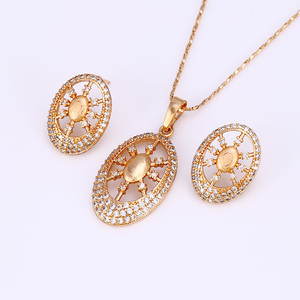 61705 Xuping wholesale gemstone jewellery unique oval shaped fake gold jewelry set for women