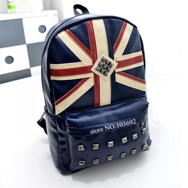 be2afd75562a Get Quotations · Fashion PU Girl Vintage Casual Women Backpack Rucksack  National UK Flag School bag Hiking Satchel Bag