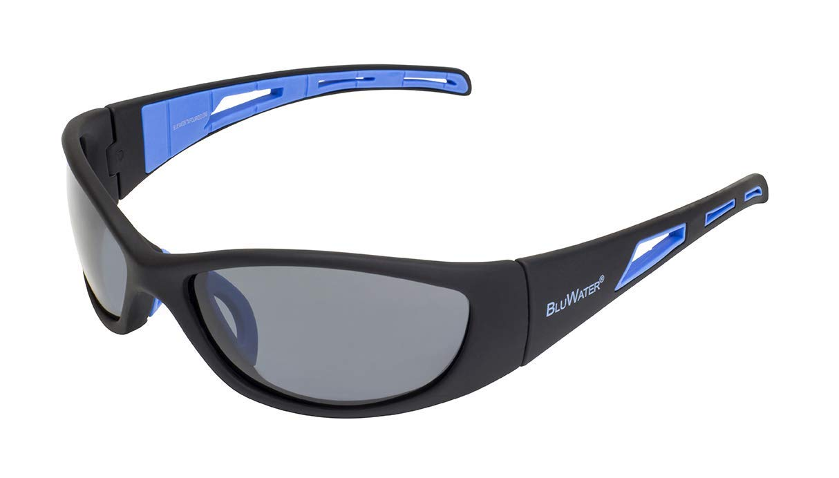 67f3c0d71e2 Get Quotations · BluWater Polarized Buoyant Series Sunglasses with Matte  Black Frames and Gray Lenses