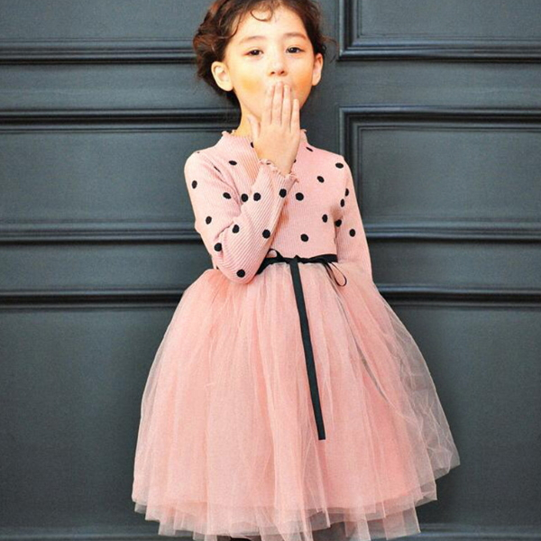 PHB10231 polka dots design girls dresses net frock designs images