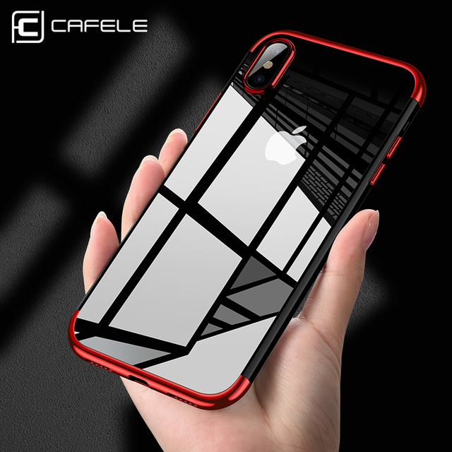 Cafele Luxury Cell Phone Case For iPhone X , Soft TPU Shockproof Plating Clear Case for iPhone X