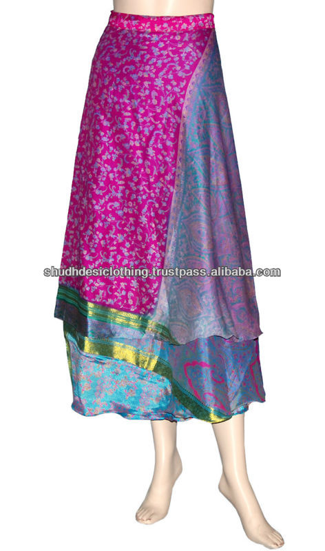 Vintage Silk Saree Sari Reversible Wrap Dress Skirt