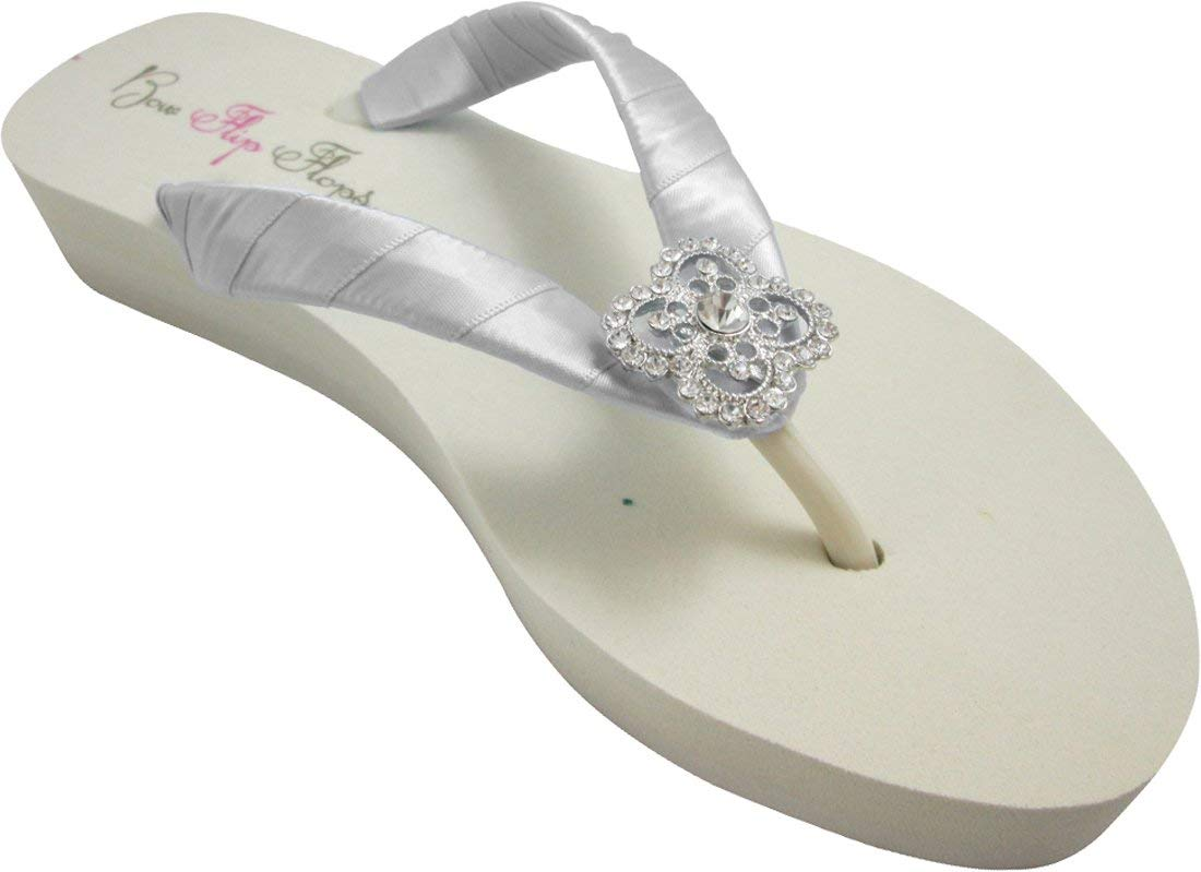 7b761a00c1f5 Get Quotations · Silver and Ivory Flip Flops with Square Filigree Bling