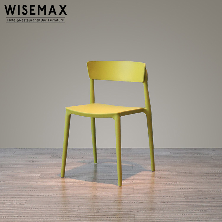 Modern wholesale yellow PP plastic comfy dining chair restaurant Chair
