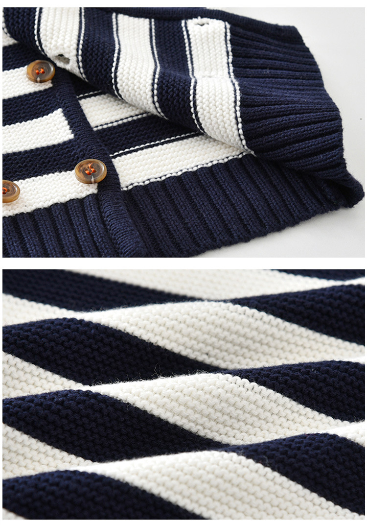 Fancy kids sweater coat navy blue white stripe with double breasted button edgy boy knitted blazer wholesale clothes