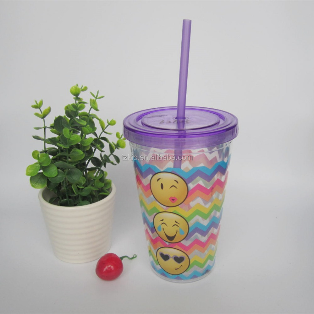 Double Wall Tumbler 16oz Acrylic Plastic Cup Straw Travel Mug Thermo Coffe