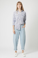 Linen/ Cotton Oversized Striped Long Sleeve shirt for Young Girl / Latest Street fashion Stripe Shirt for women