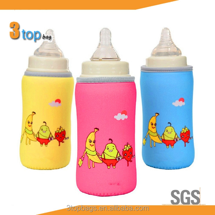 Baby Bottle Sleeve with Strap for Glass Shock and Crash Protects Neoprene Thermal Insulation