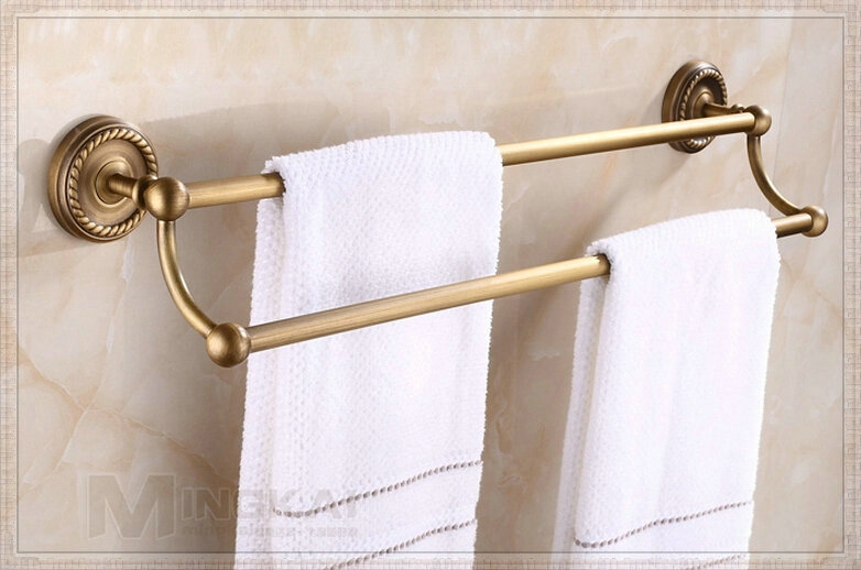 Antique Brass Wall Mount Towel Rack Double Towel Bars
