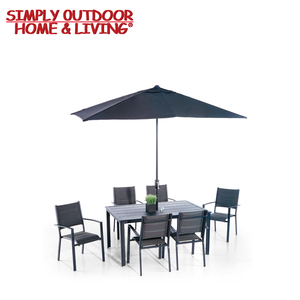 8 Pieces Steel Frame Leisure Garden Outdoor Furniture Dining Table Set