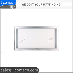 customized OUTDOOR PUBLIC aluminum frame fabric back lockable notice bulletin board with acrylic door