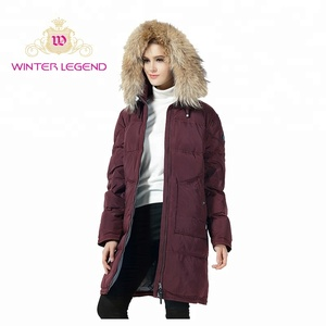 wholesale clothes women winter raccoon fur collar warm hooded coat down jacket