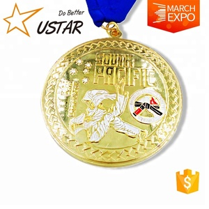 Design your own custom Metal Crafts production zinc alloy blank gold award sports medal with ribbon