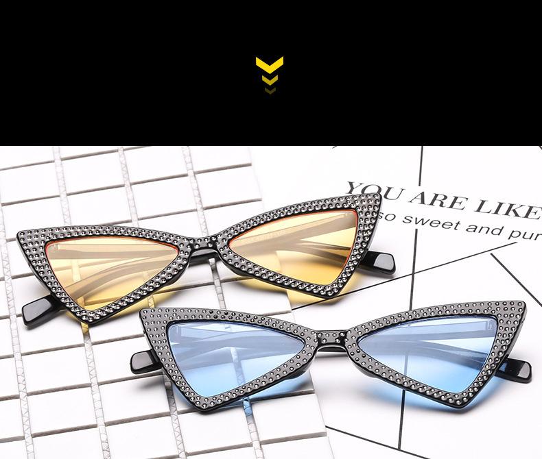 e79c5d63528c84 Diamond Driehoek Zonnebril Vrouwen Merk Luxe Crystal Cat Eye Zonnebril  Dames Kleine Zwarte Bril Shades