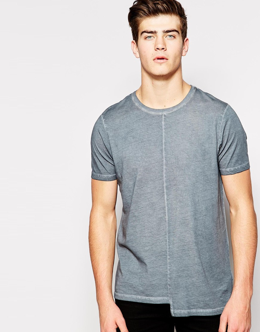 Longline T Shirt Men With Oil Wash And Step Hem
