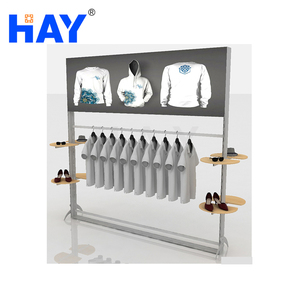 Aluminum Frame Clothing Shop Display with LED Lamp