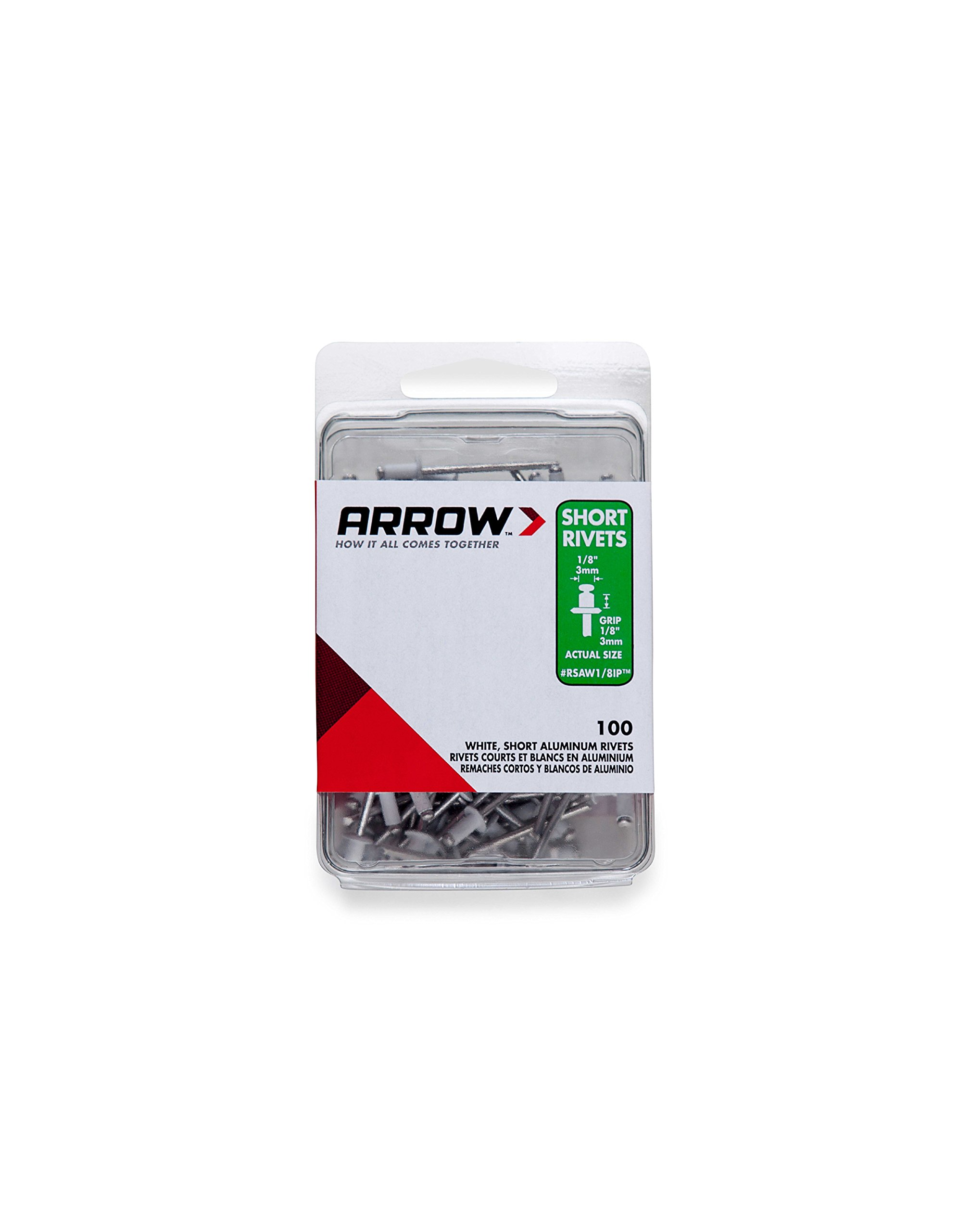 Arrow Fastener RSAW1/8IP Short White Aluminum 1/8-Inch Rivets, 100-Pack