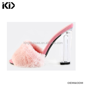 2018 summer newest women sandals clear perspex block heels pink fuzzy lucite  heel mules for sale