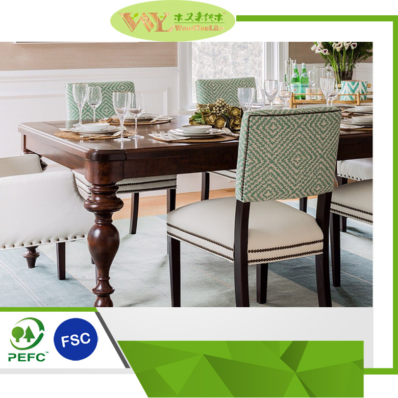 Antique Solid Wood+Farbic Tables and Chair Set Dining Table and Chair For Sale